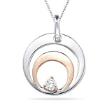 0.05-0.10 Cts  SI2 - I1 clarity and I-J color Diamond Solitaire Circle Pendant in 18K Two Tone Gold