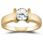1.10 Cts of 6 mm AA Round White Sapphire Solitaire Ring in 14K Yellow Gold