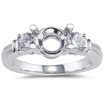 0.50 Ct Diamond Classic Three-stone Engagement Ring Setting-18KW Gold