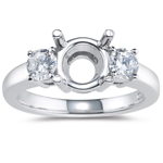 1/2 Cts Diamond Three-stone Engagement Ring Setting in 18K White Gold