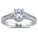 0.28 Cts Diamond Filigree Engagement Ring Setting in 18K White Gold