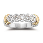 0.45-0.50 Cts  SI2 - I1 clarity and I-J color Diamond Five Stone Ring in 18K Two Tone Gold