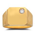 Men's Diamond Ring - 0.11 Ct Diamond Men's Ring in 14K Yellow Gold