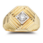 Men's Diamond Ring - 0.22 Ct Diamond Men's Ring in 14K Yellow Gold