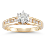 0.60-0.65 Cts  SI2 - I1 clarity and I-J color Diamond Ring in 14K Yellow Gold