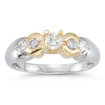 0.40-0.46 Cts SI2-I1 clarity & I-J color Diamond Ring in 14K Two Tone Gold