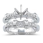 0.24 Ct Diamond Ring Setting & Wedding Band Set in 18K White Gold