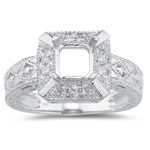 0.08 Ct White Diamond Ring Setting in 14 K White Gold