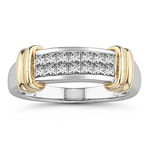 0.45-0.50 Cts  SI2 - I1 clarity and I-J color Diamond Ring in 14K Two Tone Gold