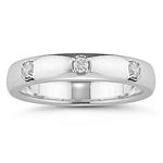 0.09 Ct Diamond Three-Stone Wedding Band in 18K White Gold