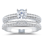 0.92 Ct Diamond Ring Setting & Wedding Band Set in 18K White Gold