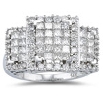 3.15-3.20 Cts  SI2 - I1 clarity and I-J color Diamond Ring in 14K White Gold - Christmas Sale