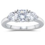 1.41 Cts Diamond Three Stone Ring in 18K White Gold
