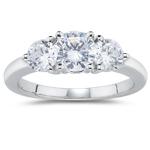1.41 Cts Diamond Three Stone Ring in 18K White Gold