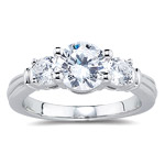 AAA Cubic Zirconia Diamond Simulant Three Stone Ring in 14K White Gold
