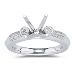 0.18 Ct Diamond Ring Setting in 18K White Gold