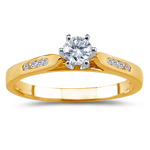 0.08 Cts Diamond Ring Setting in 14K Yellow Gold.
