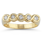 0.30 Cts Diamond Five Stone Ring in 14K Yellow Gold