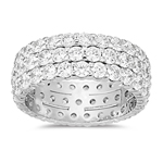 Trio-Eternity Wedding Ring in White Gold