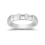 Womens Baguette Wedding Ring in White Gold