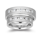 Mens Five Stone Matching Ring in White Gold