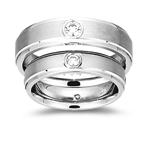 Mens Matching Solitaire Bezel Ring in White Gold