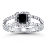 1.50 Cts Black & White Diamond Ring in 14K White Gold