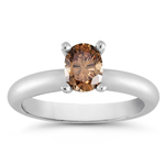 0.54 Cts Brown Diamond Solitaire Ring in 14K White Gold