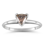 0.51 Cts Brown Diamond Solitaire Ring in 14K White Gold