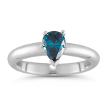 0.53 Cts Teal Blue Diamond Solitaire Ring in 14K White Gold