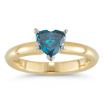 0.55 Cts Blue Diamond Heart Solitaire Ring in 14K Yellow Gold