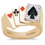 0.02 Cts Diamond Men's Poker Ring in 14K Yellow Gold.