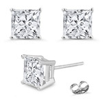 1.00 Ct 4 mm H-SI Princess Diamond Stud Earrings in 18K White Gold