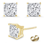 1.00 Ct 4 mm H-SI Princess Diamond Stud Earrings in 18K Yellow Gold