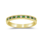 0.15 Cts Diamond & Natural Emerald Channel Set Band in 14K Yellow Gold