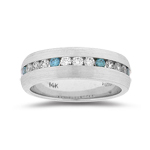 Men's Jewelry - 0.90 Cts White & Blue Diamond Men's Band