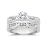 1.13 Ct Diamond Engagement Ring Setting & Wedding Band -18K White Gold