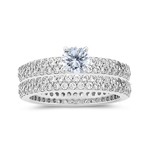 2.05 Ct Diamond Engagement Ring & Eternity Wedding Band-18K White Gold