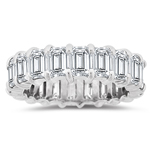 5.20-5.27 Cts Emerald-Cut Diamond Eternity Band in Platinum