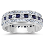 1.36 Cts Diamond & 1.20 Cts Blue Sapphire Eternity Band-18K White Gold