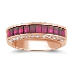 2/3 Cts Diamond & 1.69 Cts Ruby Band in 18K Rose Gold