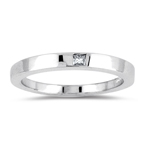 0.07 Cts of Princess-Cut Diamond Solitaire Wedding Ring in 18K White Gold