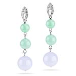 0.02 Cts Diamond & 6.00 Cts Dye Jade Dangle Earrings in 18K White Gold