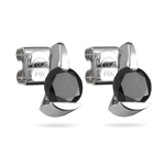 2.00 Cts of 5.65-6.37 mm AA Round Black Diamond Stud Earrings With Special Security Backs  in 14K White Gold