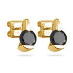 1/2 Cts of  AA Round Black Diamond Stud Earrings in 14K Yellow Gold