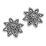 Silver Earrings - Marcasite Daisy Stud Earrings in Silver