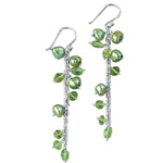 Freshwater Pearl & Peridot Earrings in Silver