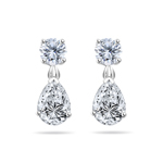 Cubic Zirconia Teardrop and Round Drop Earrings