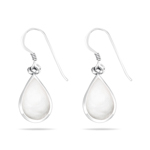 White Mother of Pearl Teardrop Earrings in Silver