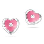 Childrens Jewelry - Diamond Pink Enamel Heart Stud Earrings in Silver